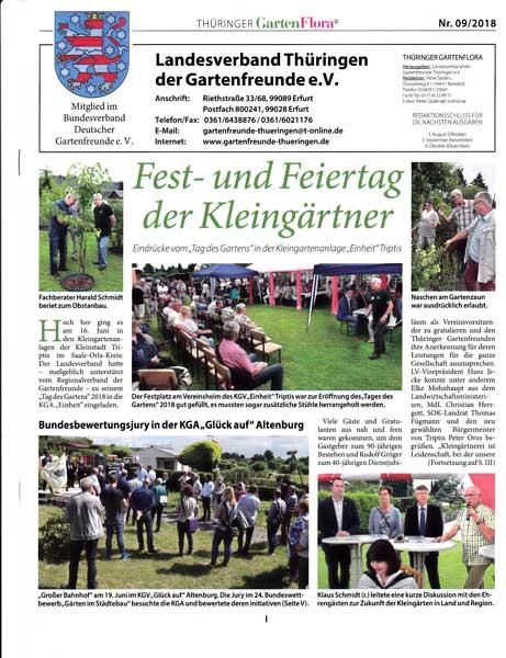 Verbandsinformationen des lv th ringen der gartenfreunde e for Kleingarten erfurt